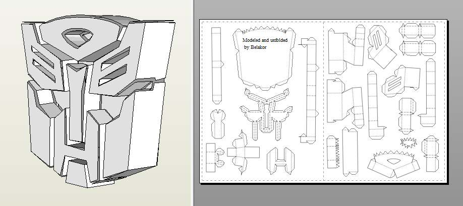 трансформеры лого из бумаги