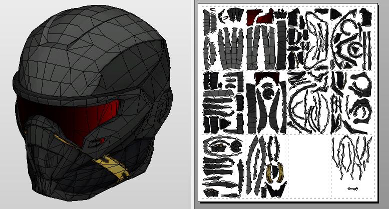 Crysis nanosuit helmet papercraft template