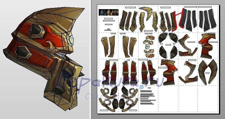 латный шлем из бумаги