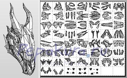 череп дракона из бумаги
