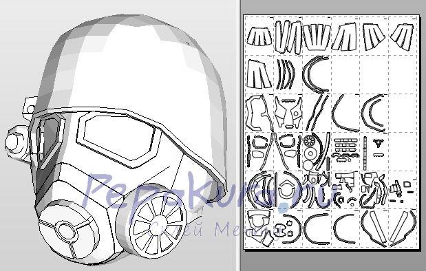 Шлем NCR Veteran Ranger из бумаги