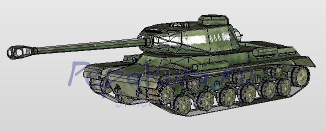 Модель Танк ИС-2 из бумаги