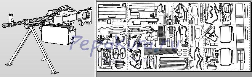 пулемёт Калашникова из бумаги