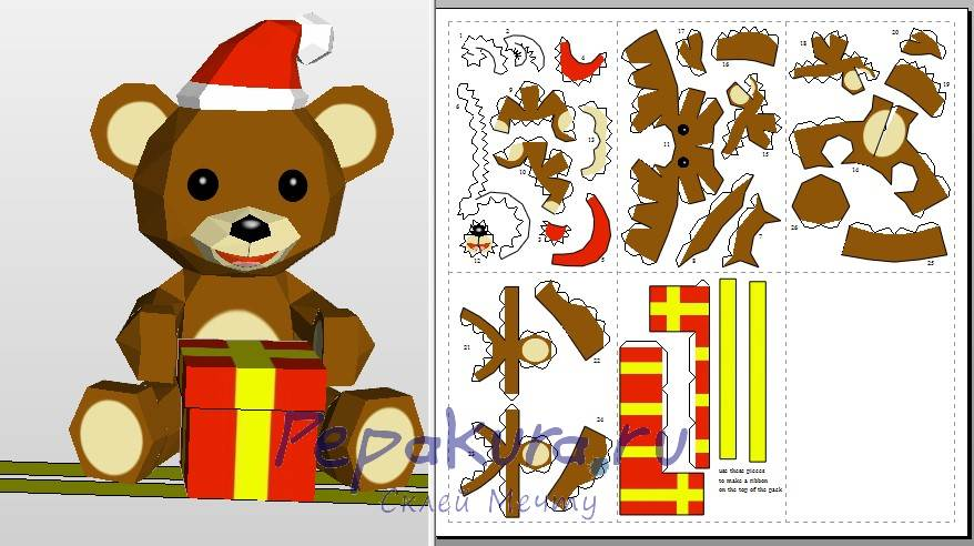 Новогодний мишка из бумаги