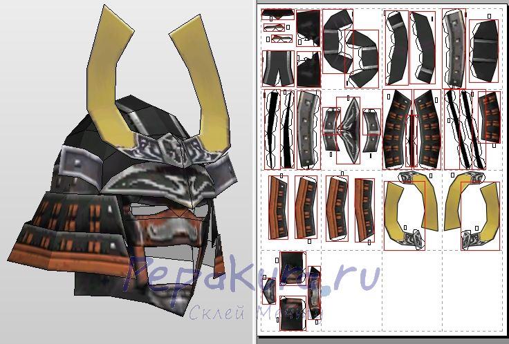 Самурайский шлем из бумаги