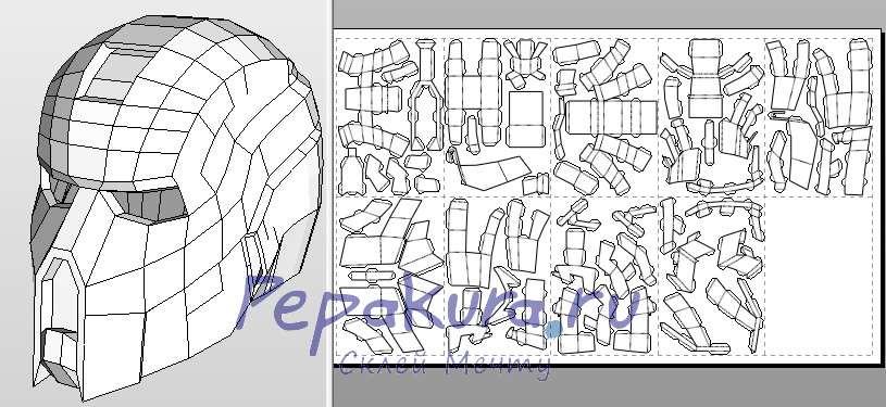 Шлем Т-9 из Total Invasion papercraft