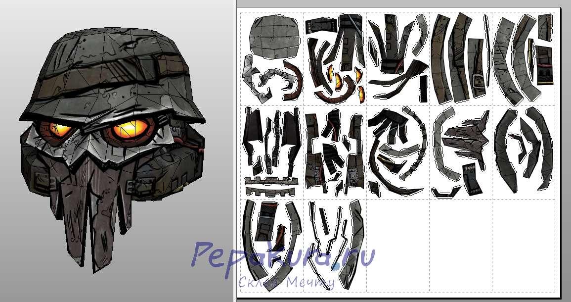 Шлем бандита из бумаги