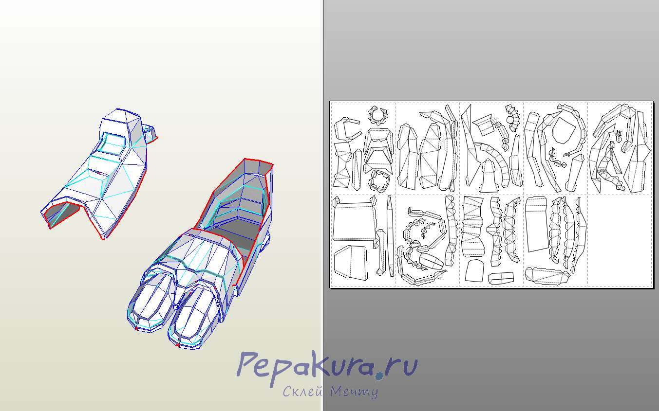 Cyrax feet papercraft