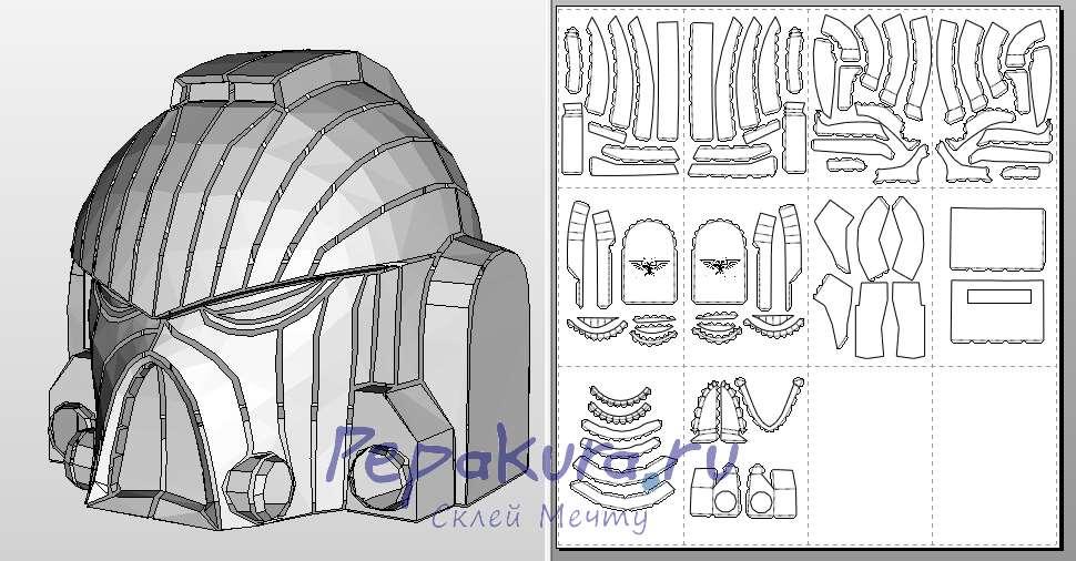 Шлем Космодесантника из бумаги