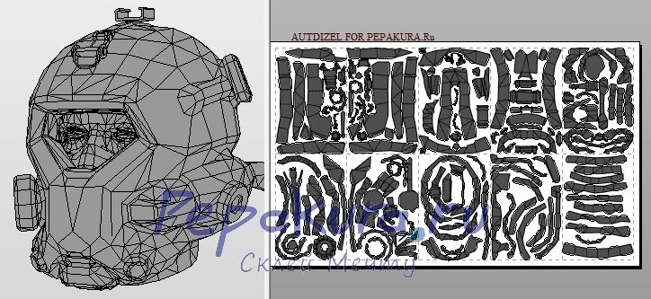 crysis cell helmet papercraft
