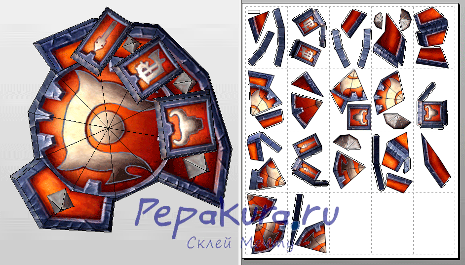 pvp horde shield papercraft download template