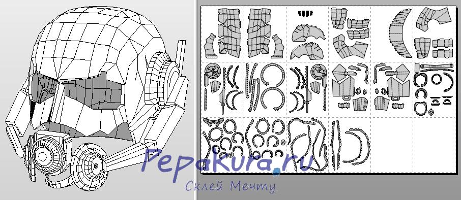 Ant-man helmet pdo template papercraft