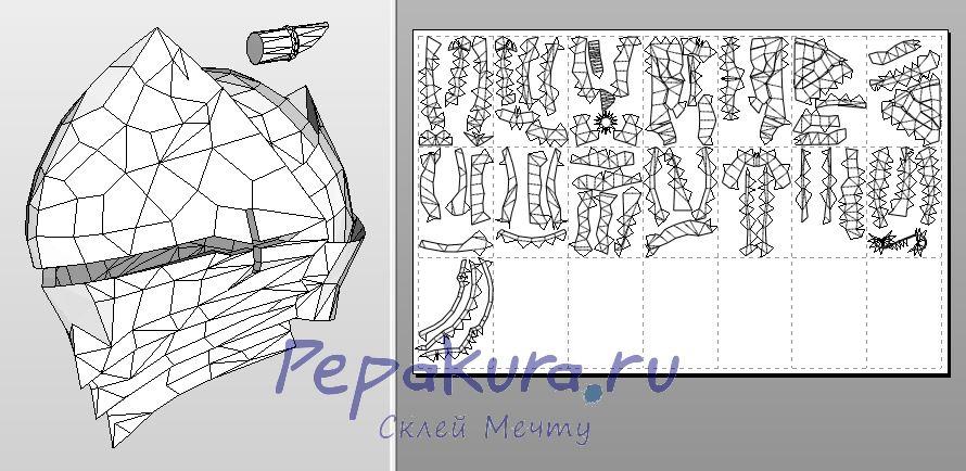 Сделать шлем берсеркера своими руками - Berserker helmet template papercraft
