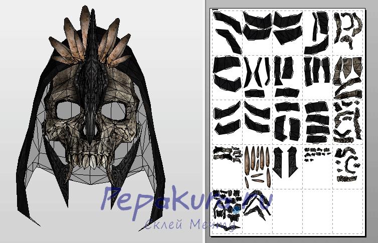 Чертёж маски Великого Охотника из бумаги