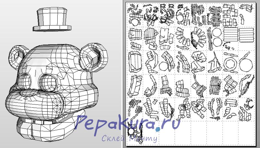 Как сделать маску Фредди из бумаги Pepakura