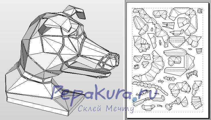 Скачать голову собаки из бумаги - dog head template