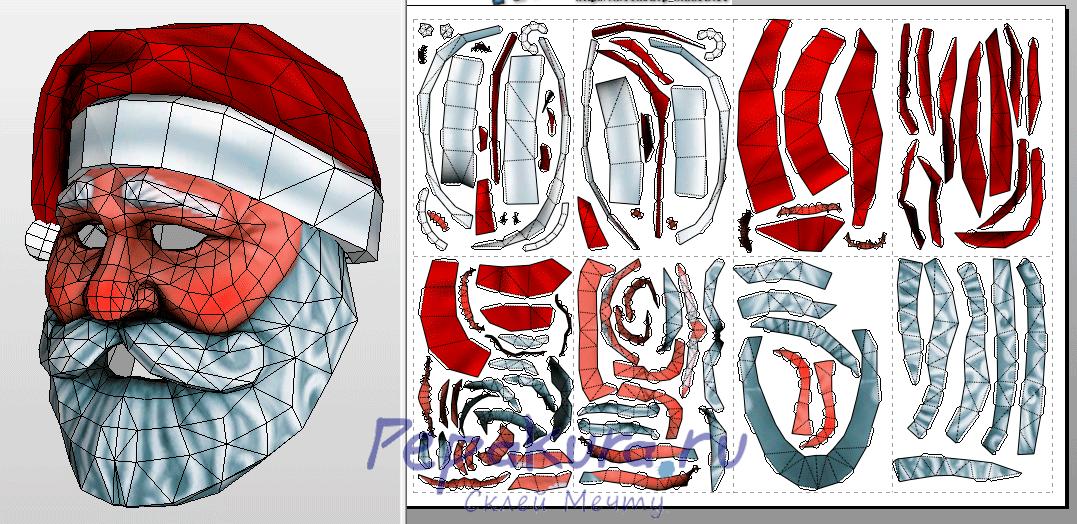 Как сделать маску Деда Мороза своими руками