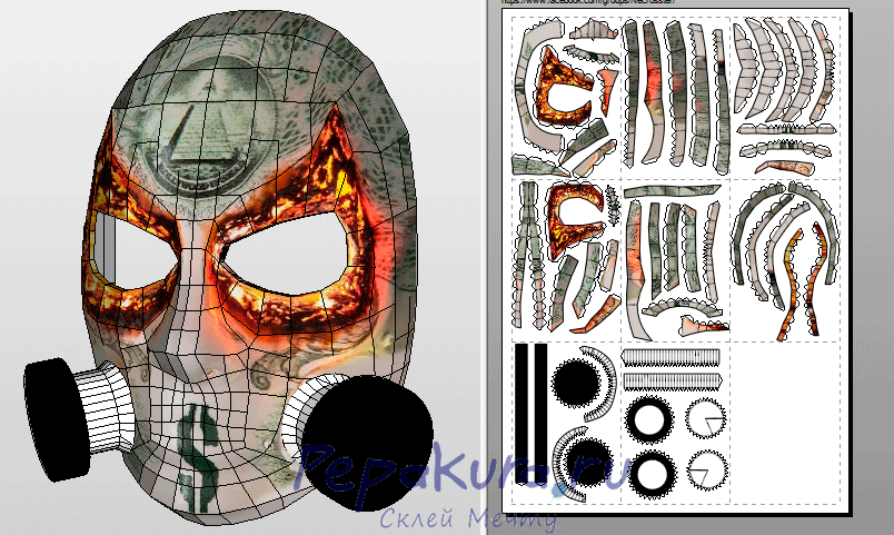 J Dog mask pdo template papercraft