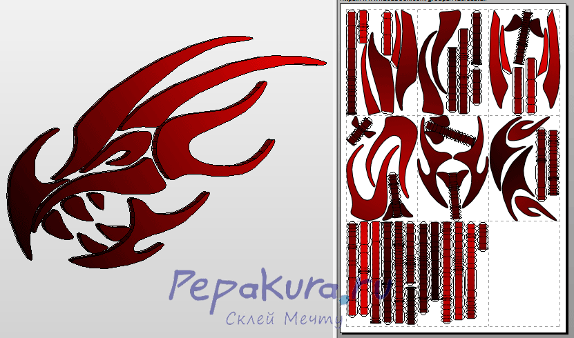 3D-pattern dragon papercraft template