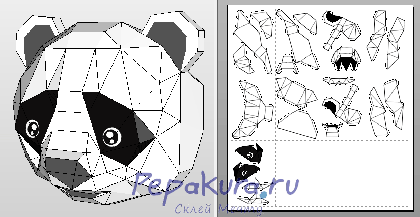 Panda mask template papercraft