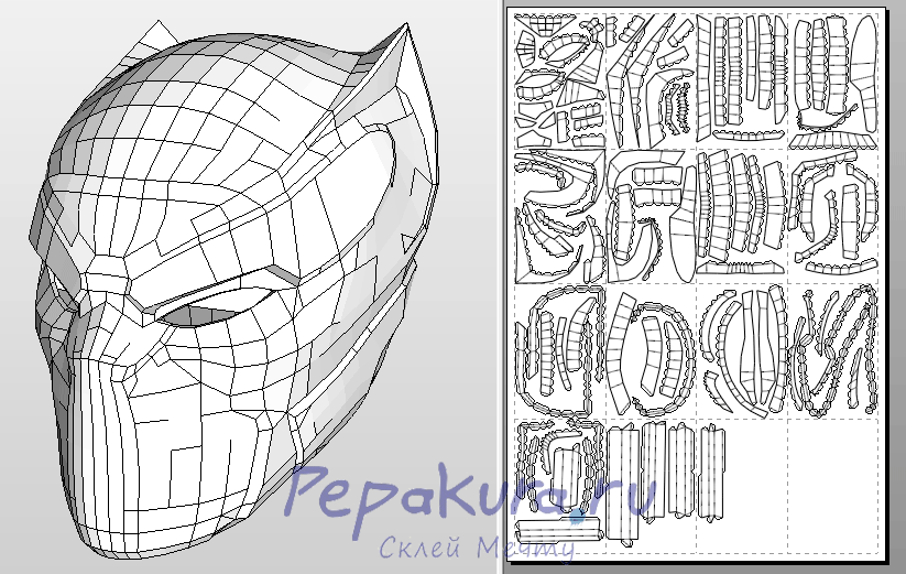 Black Panther helmet pdo papercraft