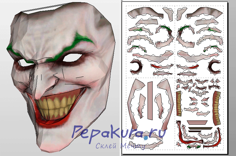 Joker mask pepakura template