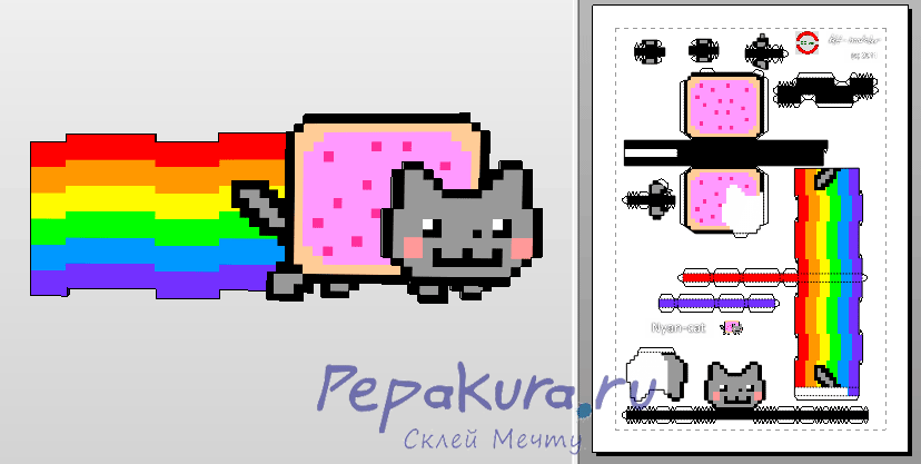 Nyan Cat pdo template papercraft