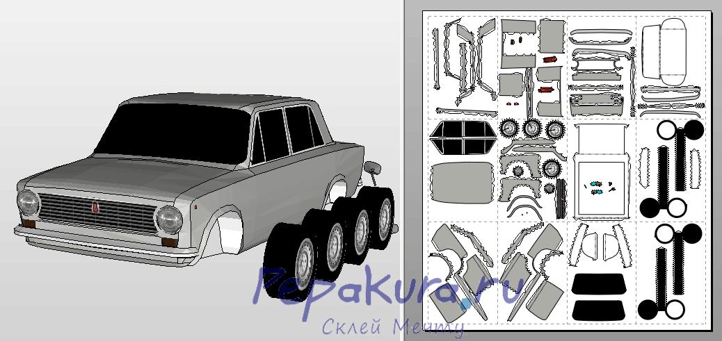 Cхема Жигули ВАЗ-2101 из бумаги пдо
