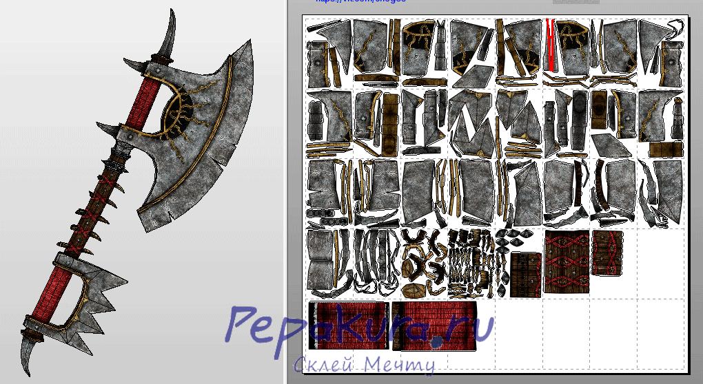 Chaos Axe pdo template papercraft