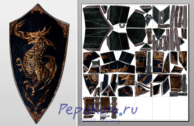 Dragon Crest Shield pdo papercraf template