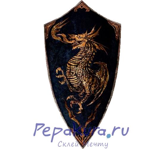 Драконий гербовый щит из бумаги