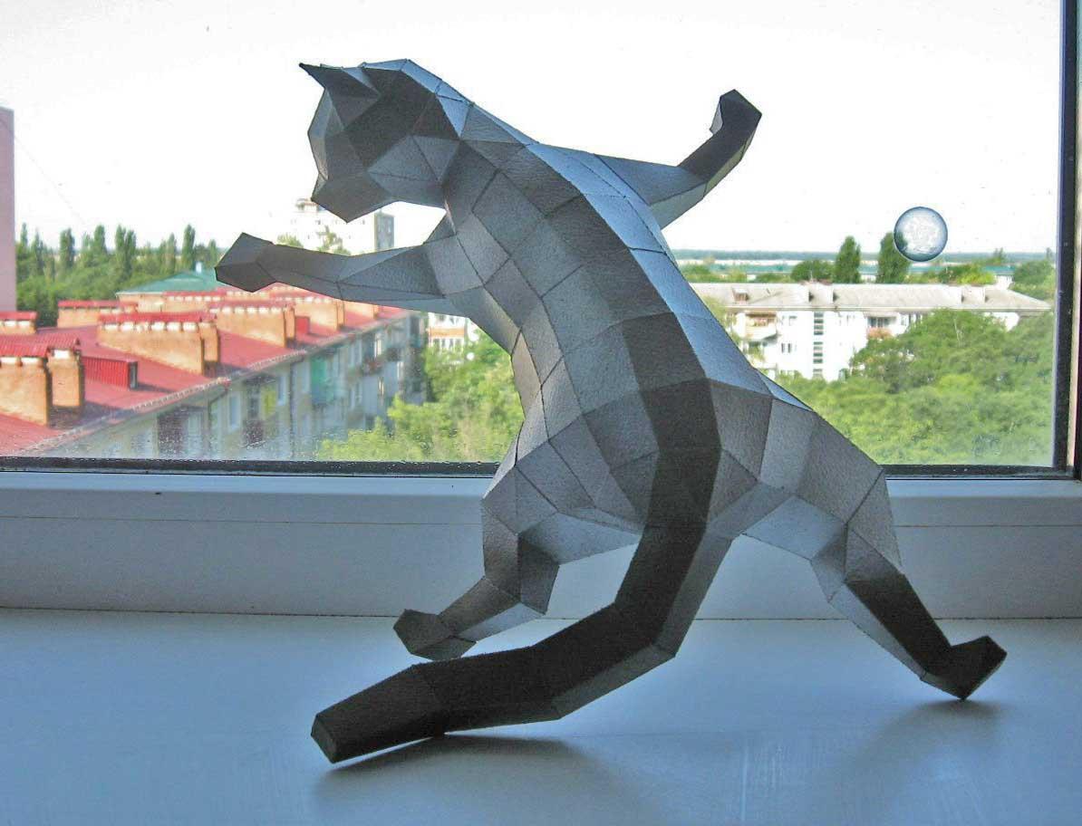 Кот из бумаги своими руками