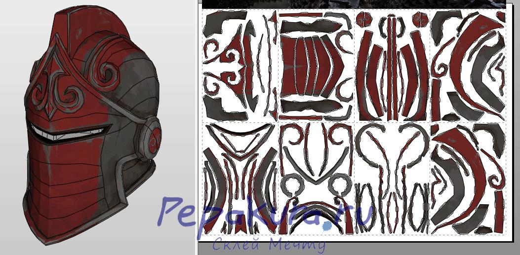 Red Knight Helmet papercraft
